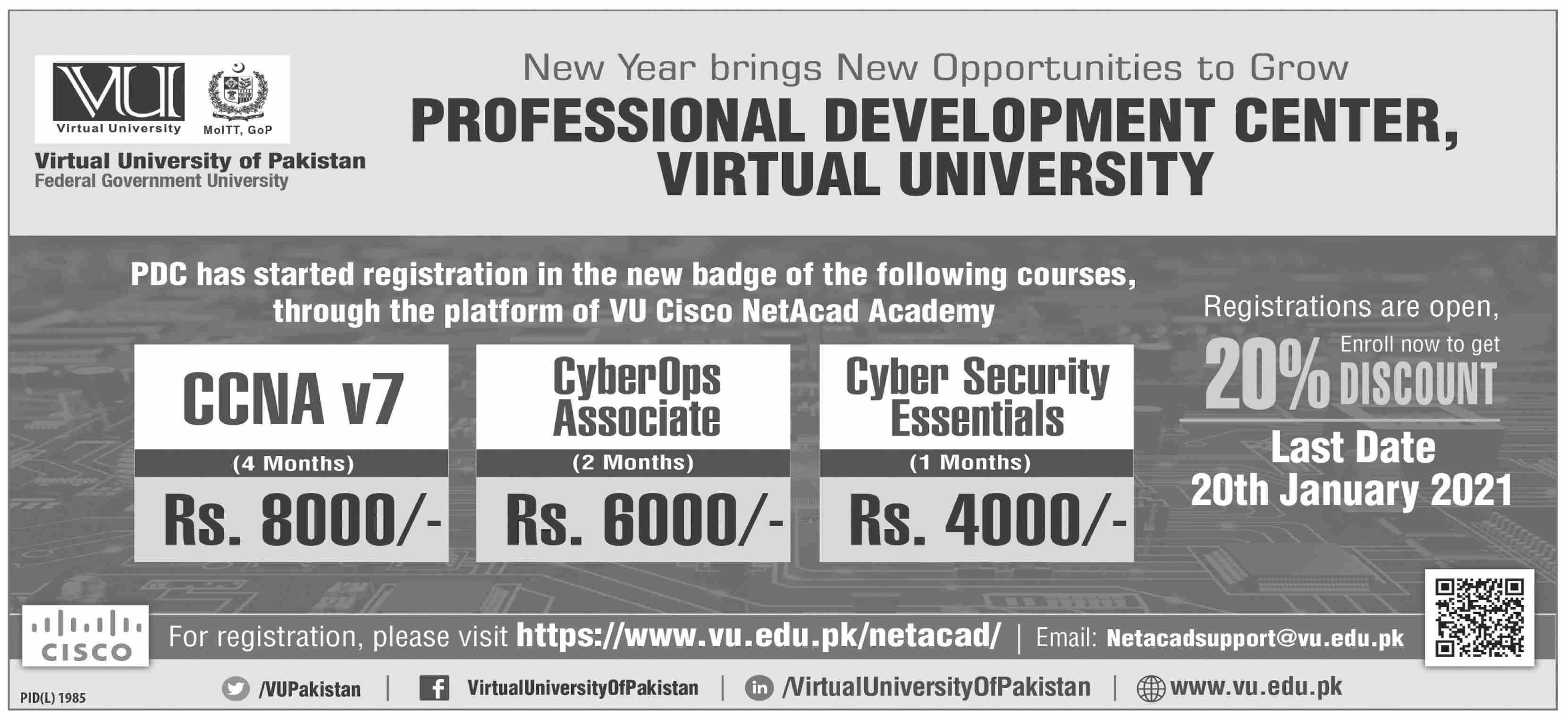 Admission Open in Virtual University of Pakistan VU 10 January 2021