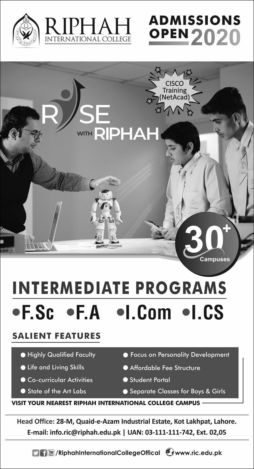 Admission Open in Riphah International University 14 October 2020