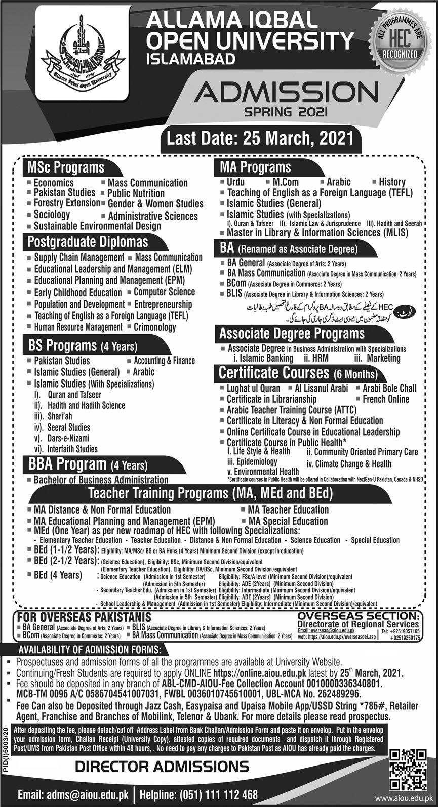 Admission Open in Allama Iqbal Open University AIOU 14 March 2021