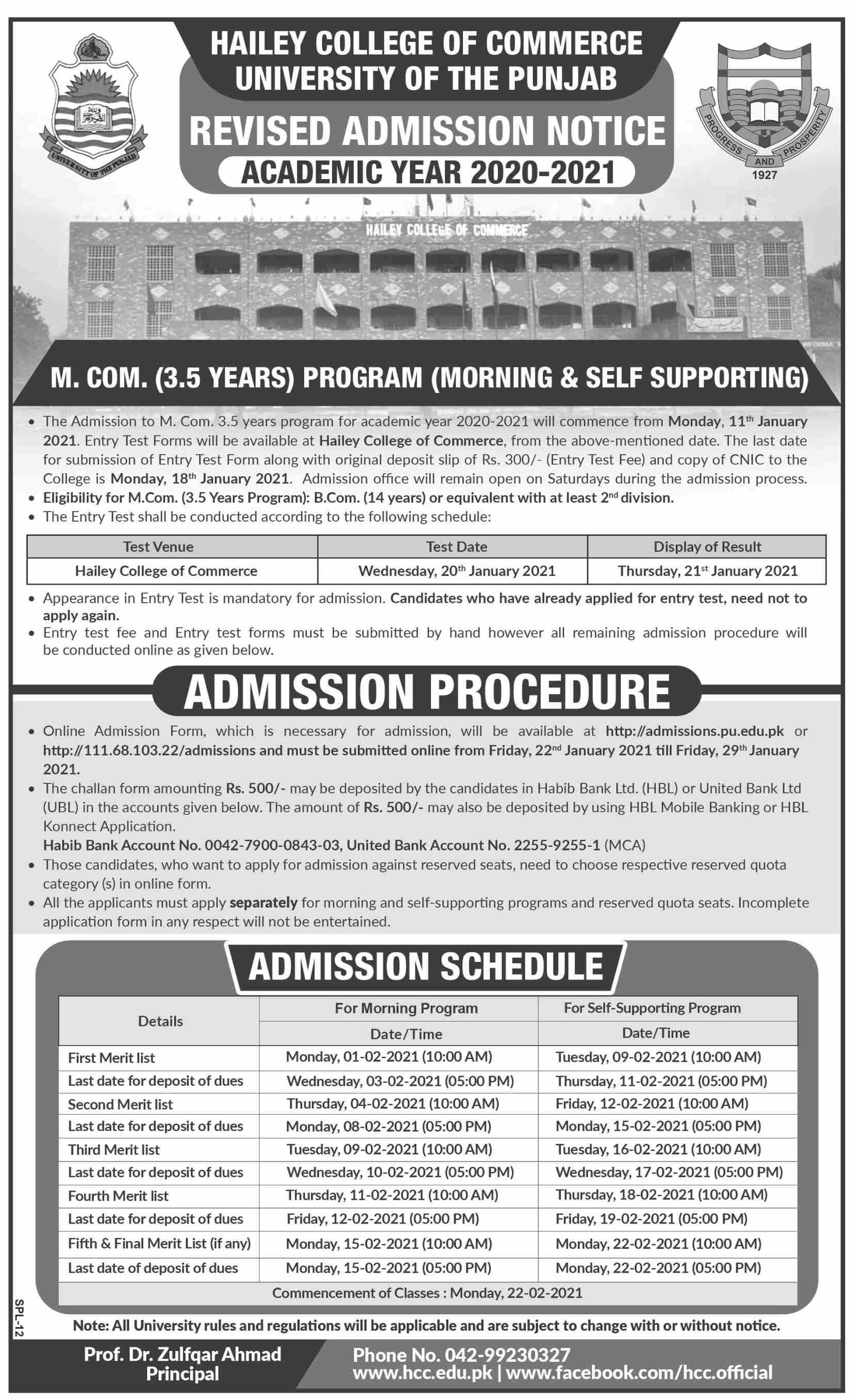 Admission Open in University of the Punjab PU Lahore 11 January 2021