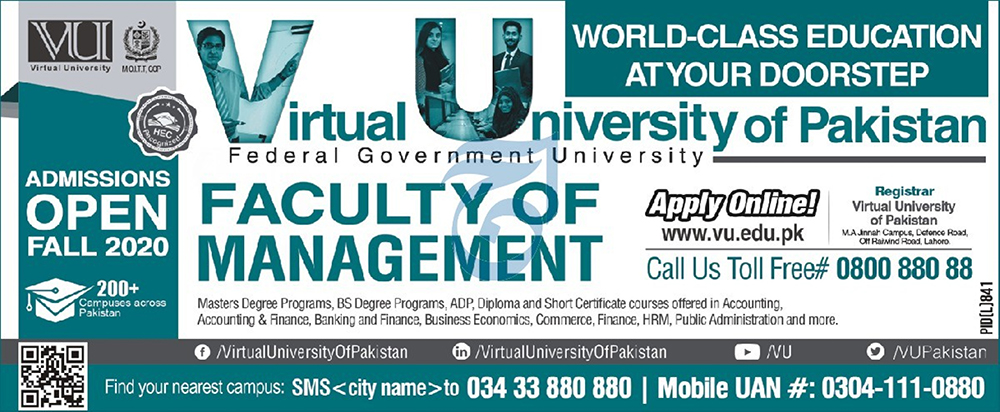 Admission Open in Virtual University of Pakistan VU 18 September 2020