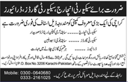 Driving Jobs In Karachi 2018