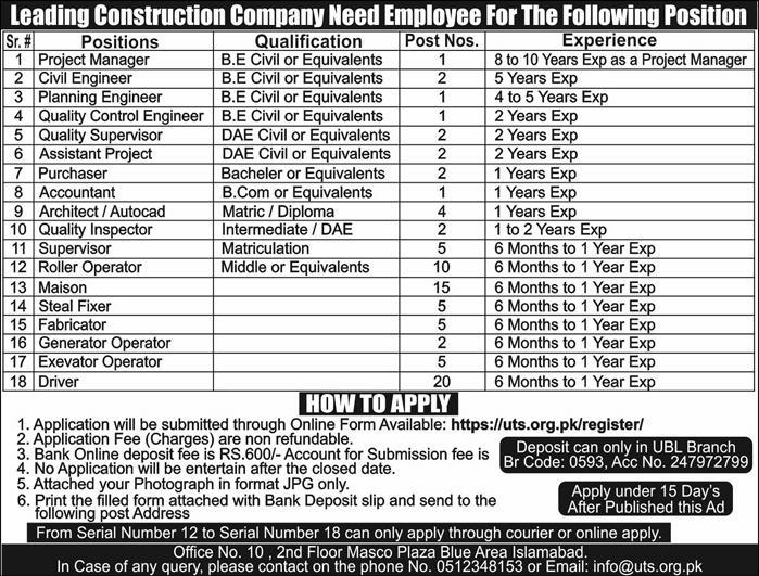 Project Manager, Civil Engineer, Planning Engineer, Quality