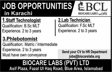 Staff Technologist, Lab Technician, Phlebotomist Jobs In Karachi 2018