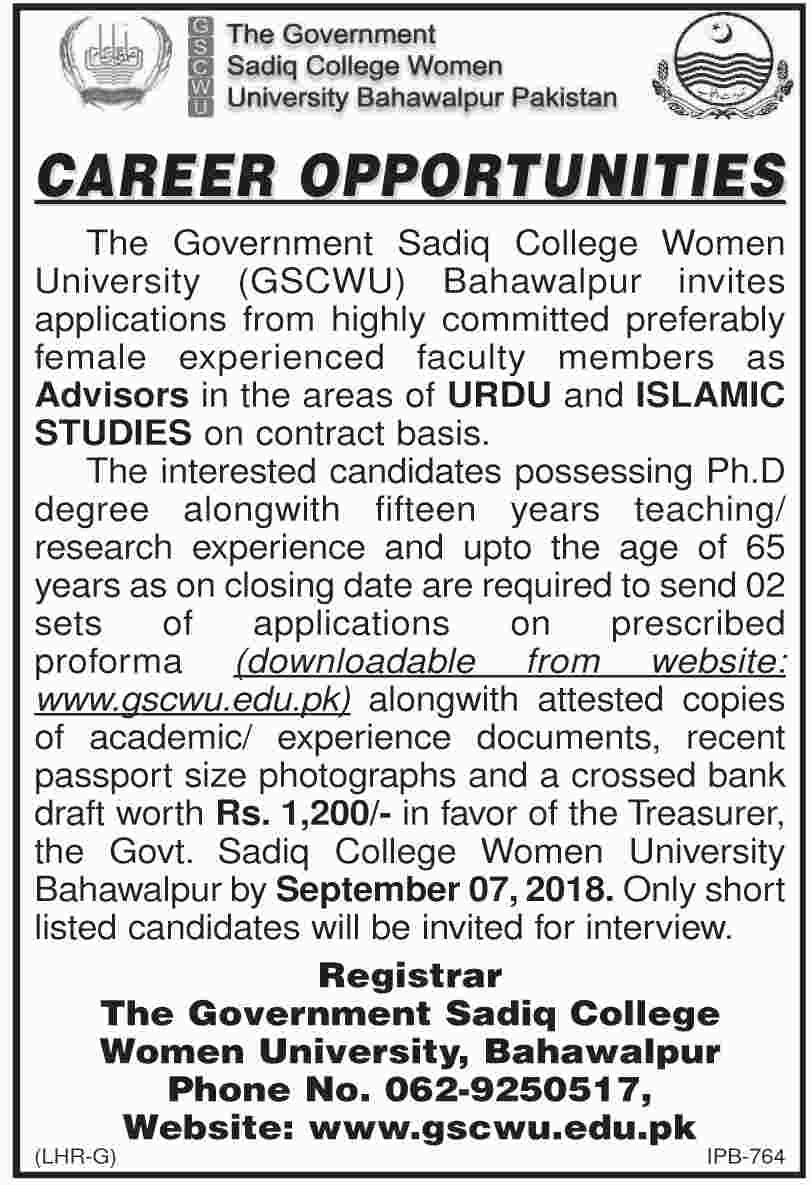 Teaching Jobs in The Govt Sadiq College Women University
