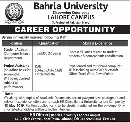 Bahria University Jobs