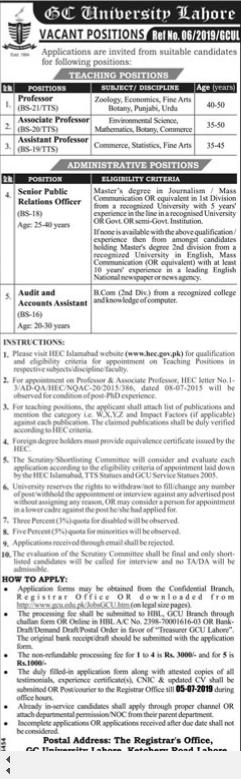 Govt College University GCU Lahore Jobs