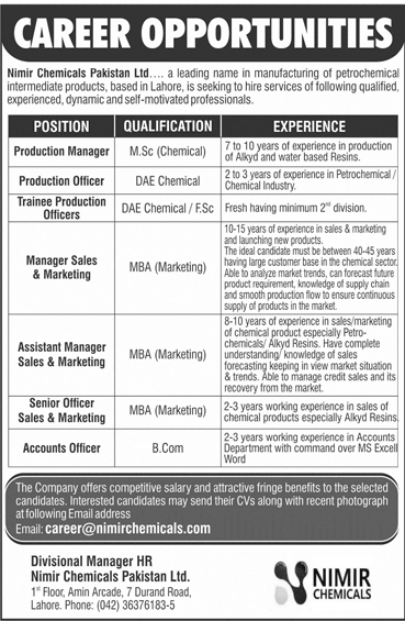 Nimir Industrial Chemicals Limited Jobs