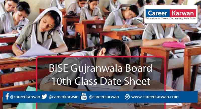 BISE Gujranwala Board 10th Class Date Sheet 2021