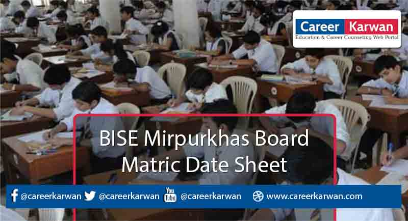 BISE Mirpurkhas Board Matric Date Sheet 2021