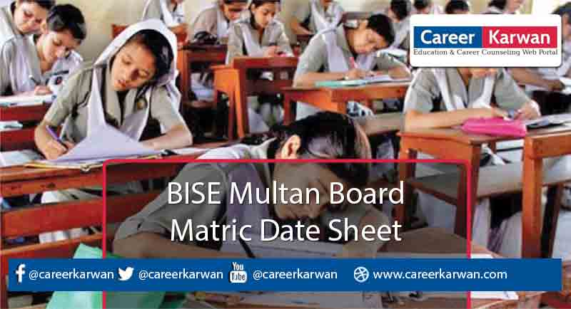 BISE Multan Board Matric Date Sheet 2021