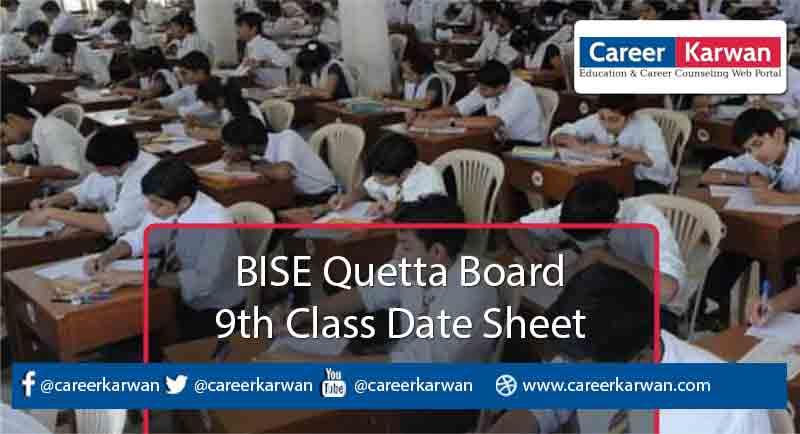 BISE Quetta Board 9th Class Date Sheet 2021
