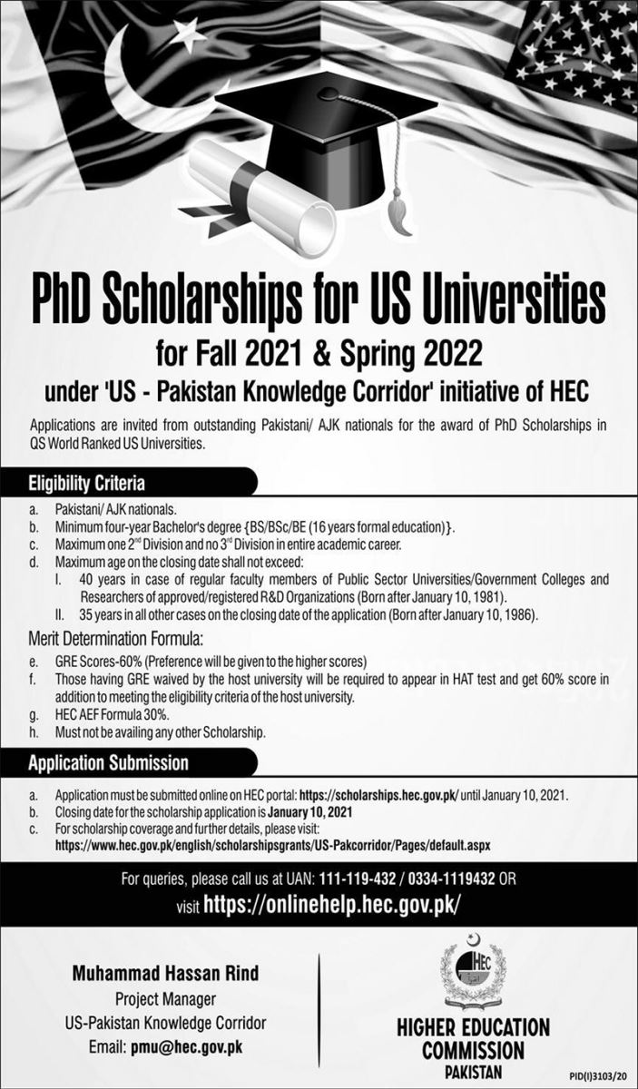 HEC PhD Scholarships for US Universities for Fall 2021 and Spring 2022